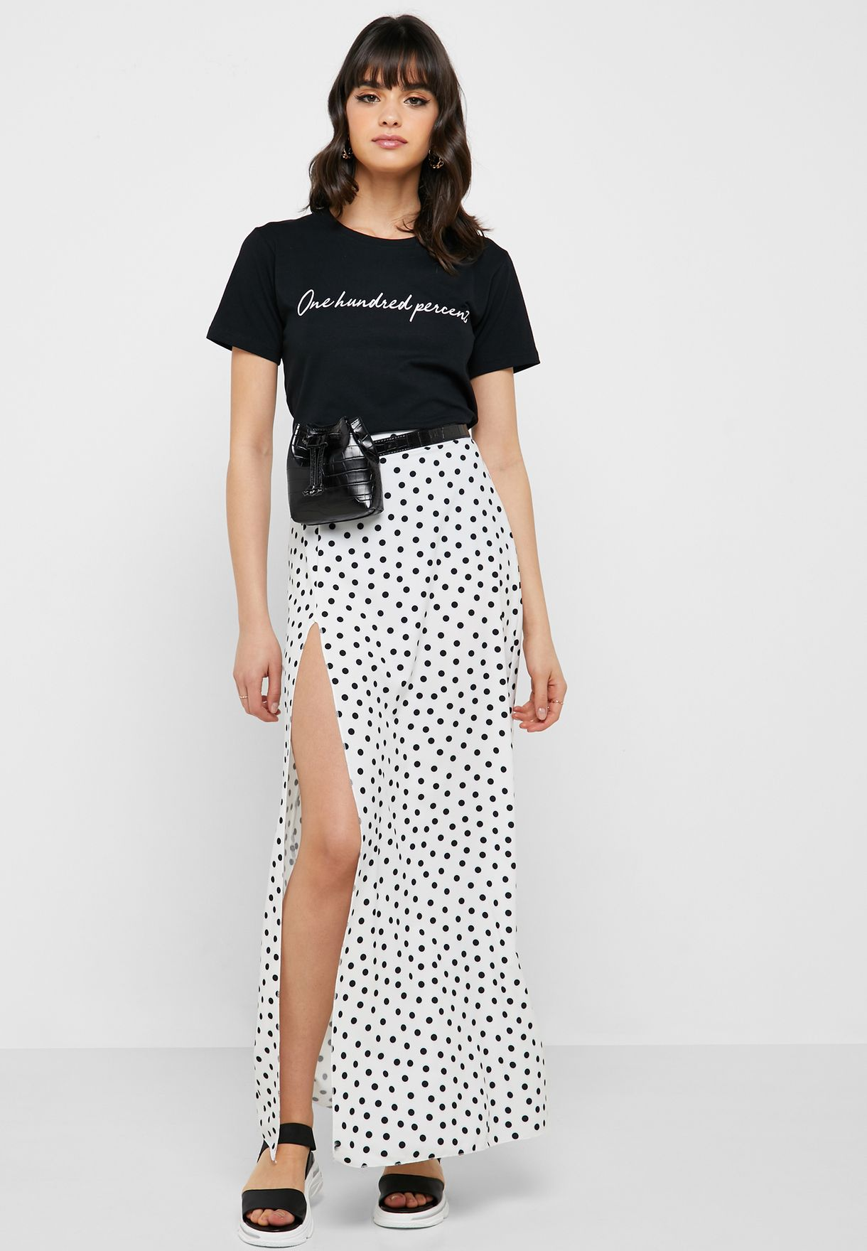 White Maxi Skirt With Slits with polka dots
