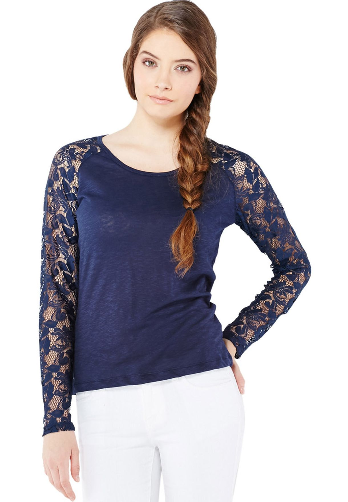lace-sleeved shirt