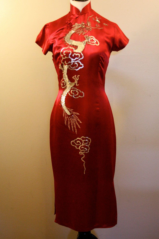 1960 Red Silk Chinese Dress