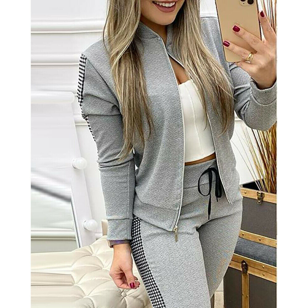 2PCS Women Tracksuit Zip Up Jacket Pants Jogging Sport Casual Lounge Wear Set