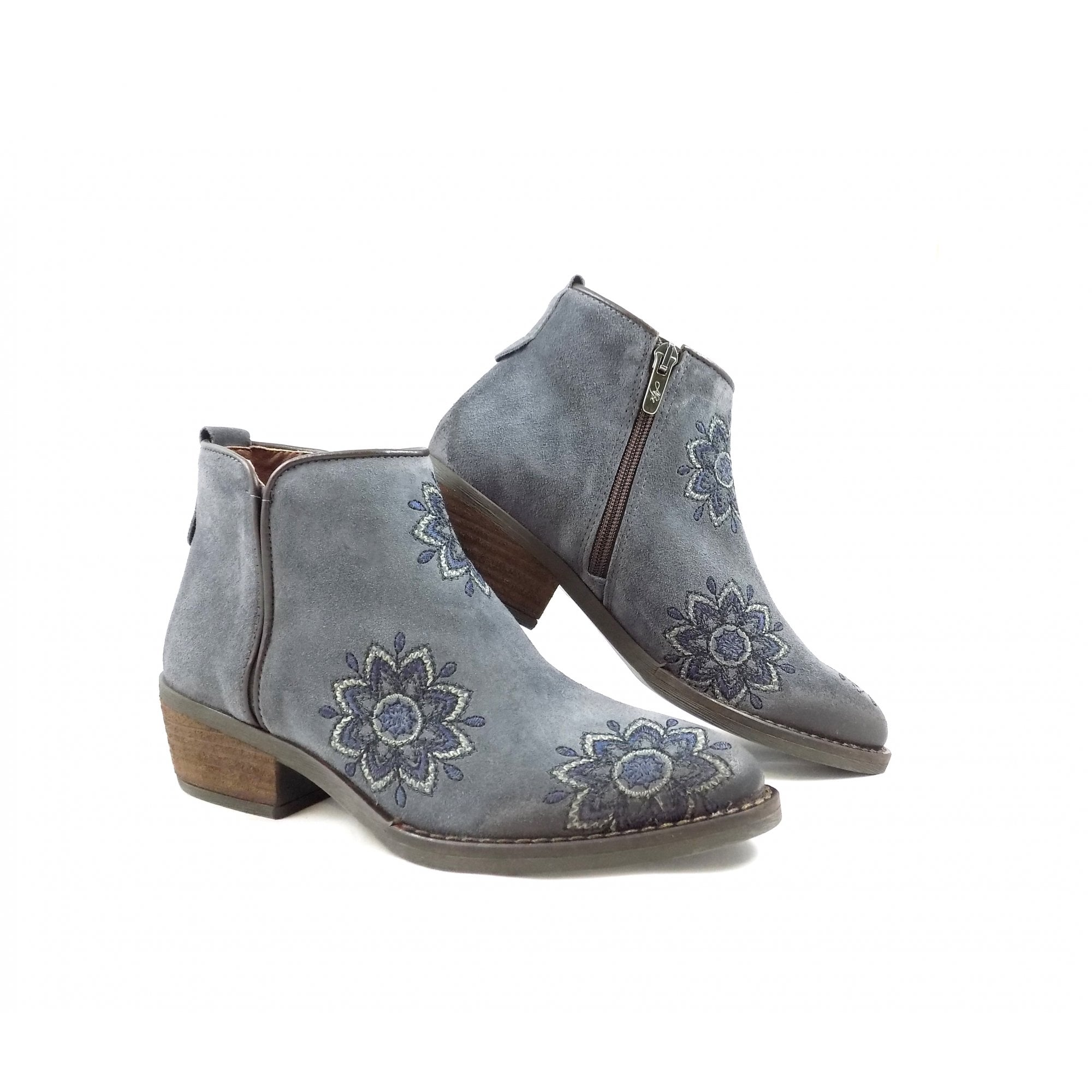 3459 Western Style Ankle Boot with Embroidery