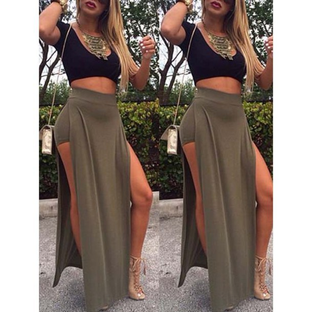 high waisted long summer skirts with slits
