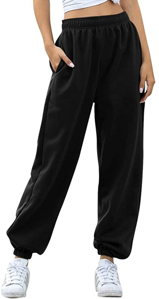 Nuofengkudu Women's Plain Tracksuit Bottoms Harem Joggers Pants with Pockets Tapered Leg Sweatpants