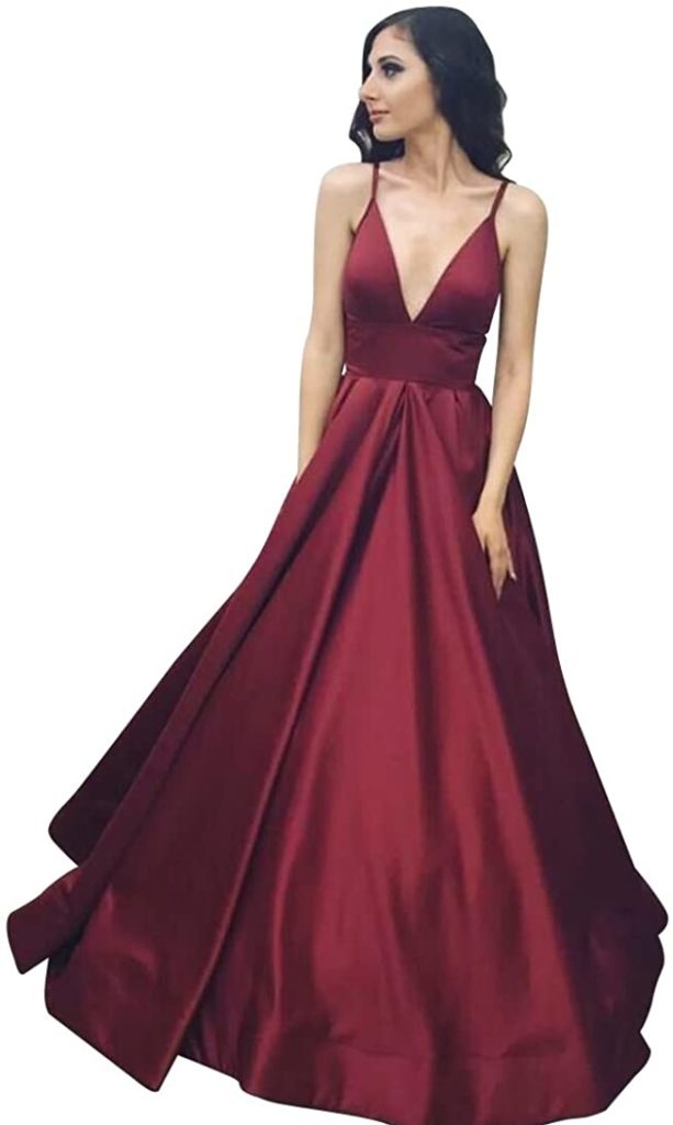 VinBridal Long Spaghetti Straps Satin Ball Gown Prom Dresses With Pockets