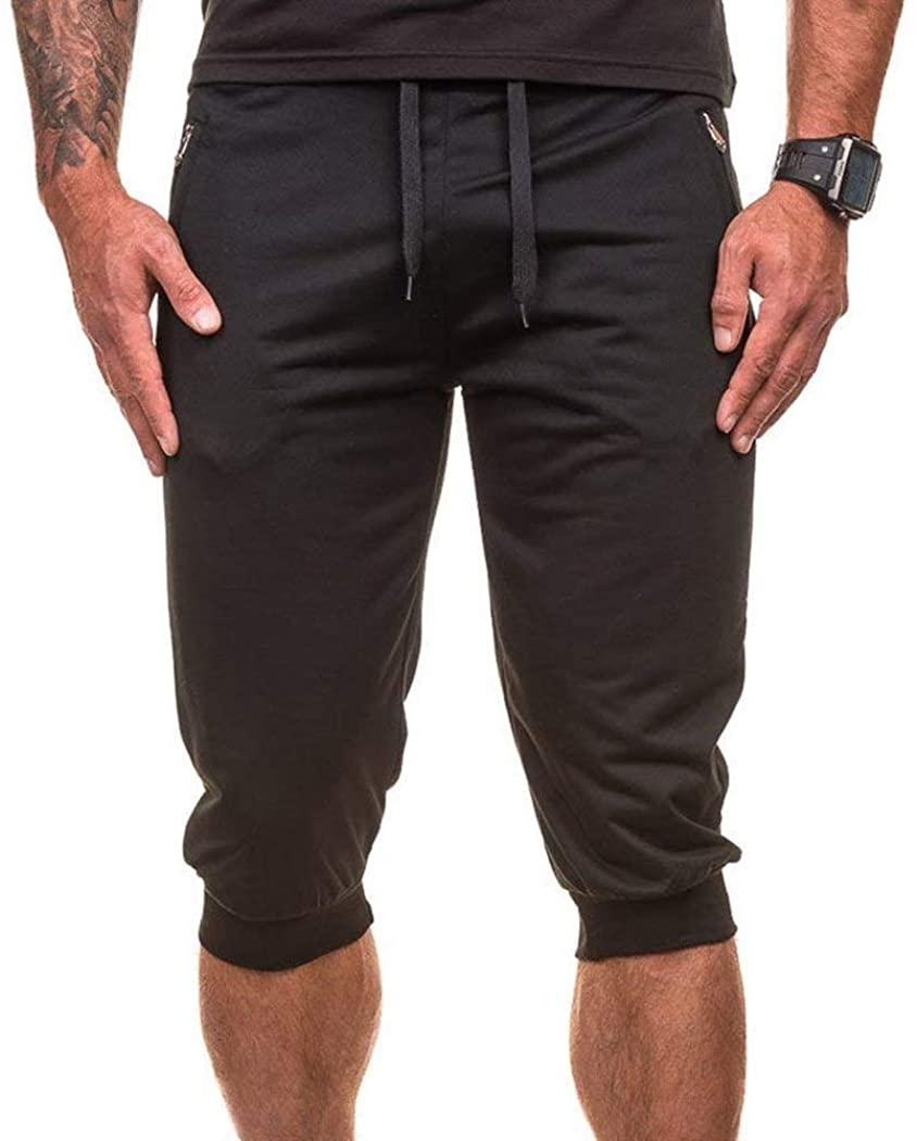 Battercake Shorts Mens Sweatpants Loose Drawstring Waist Elastic Pants Cropped Sweatpants Jogging Comfortable Shorts Shorts