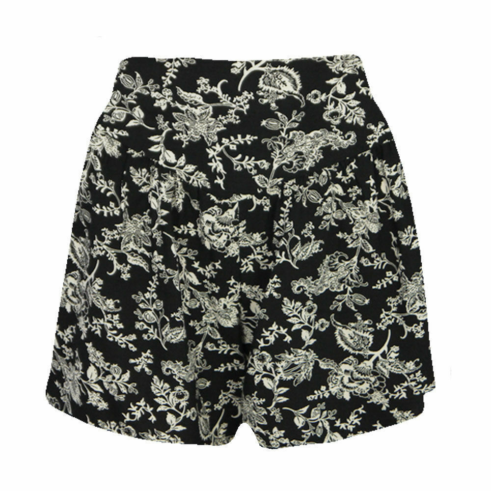 women black and white printed shorts