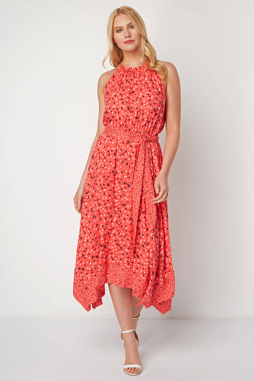 Pink Halter Neck Hanky Hem Midi Dress