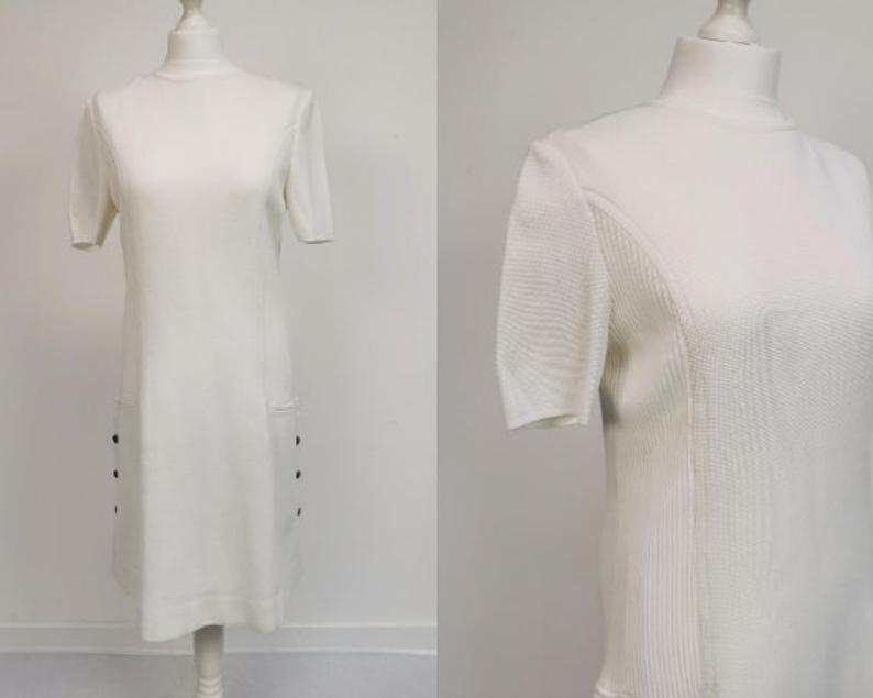 60's Vintage White Knitted Midi Dress Retro Mod