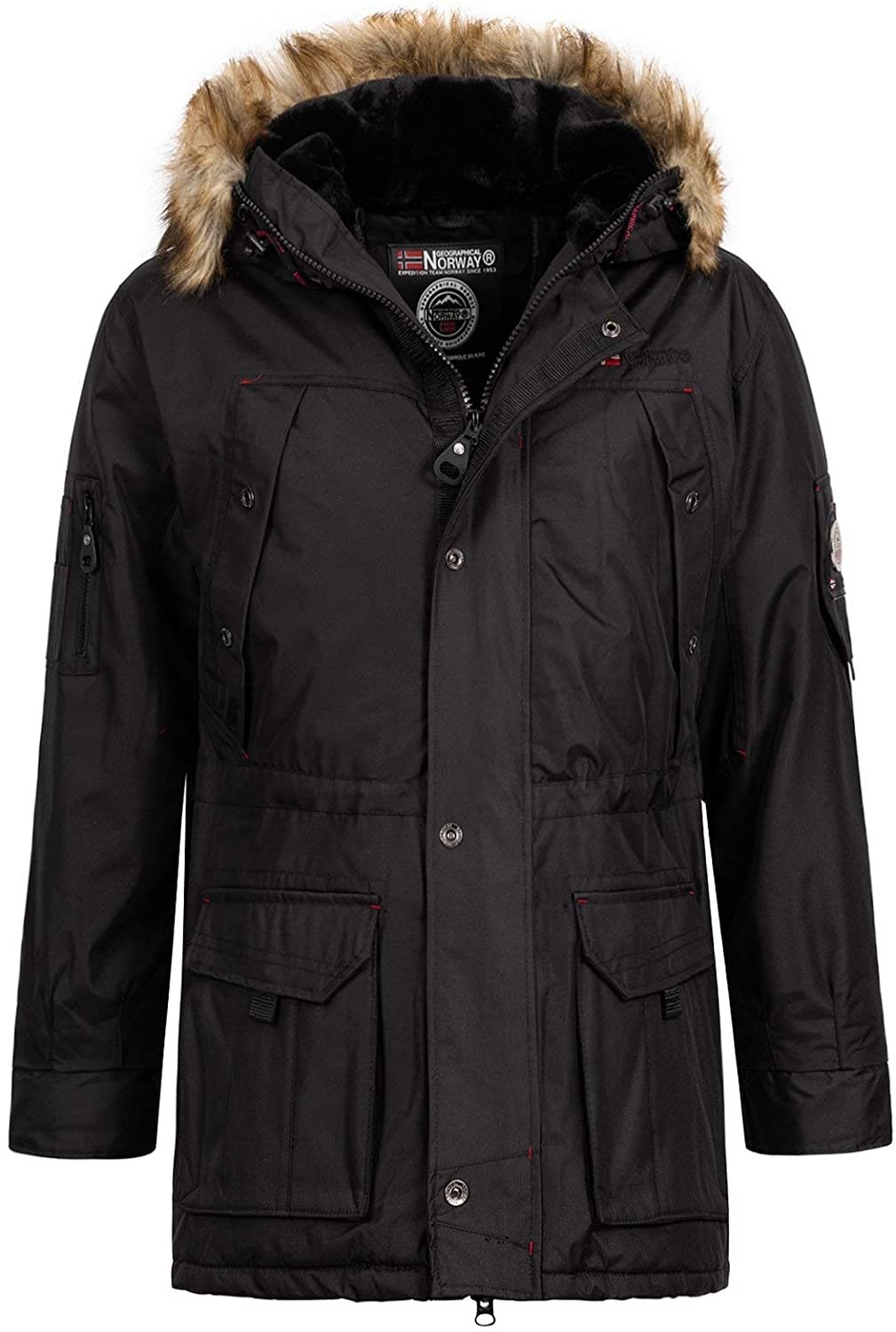 Geographical Norway Abiosaure Men's Parka Coat with Fur Hood