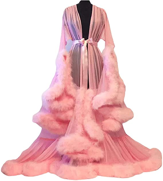 Feather Trim Tulle Lotus Leaf Long Sleeve Dressing Gown,pink