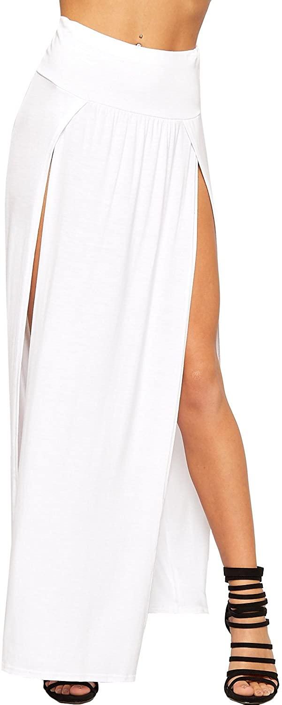 Womens Double Split Maxi Long Skirt Ladies Plain Basic Two Side Slit