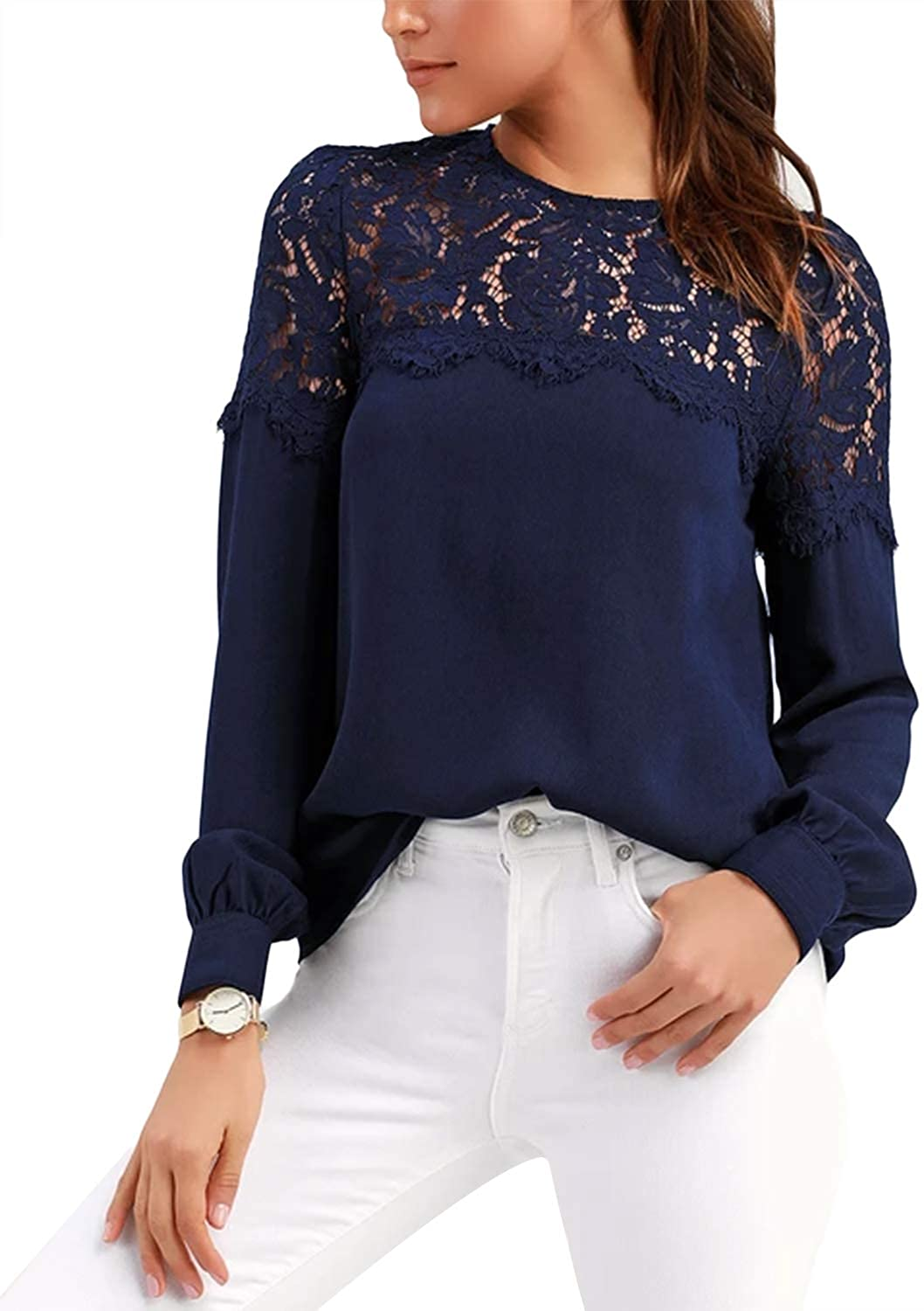 SUNNYME Womens Lace Chiffon Tops Long Sleeve Shirt Blouses Casual Work Blouses and Tops for Women
