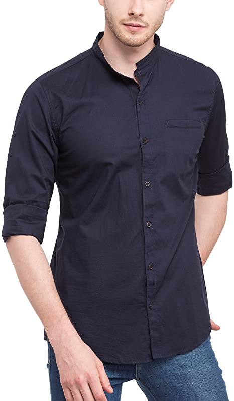 Navy Blue Mandarin Collar Shirt