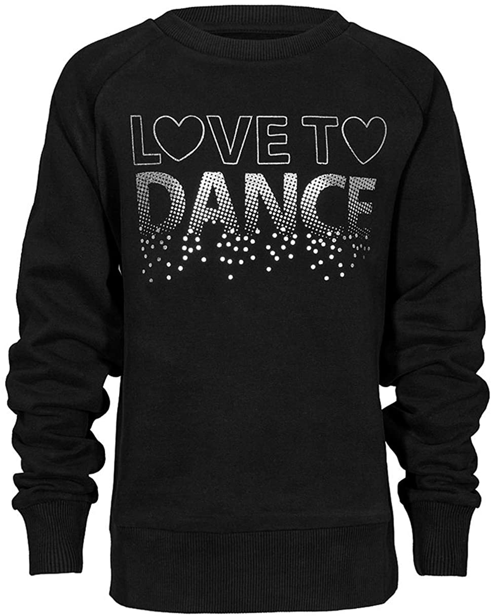 Brody & Co. Childrens Dance Sweatshirt Girls Tops Diamante Love to Dance Silver Foil Logo Gym Workout Play