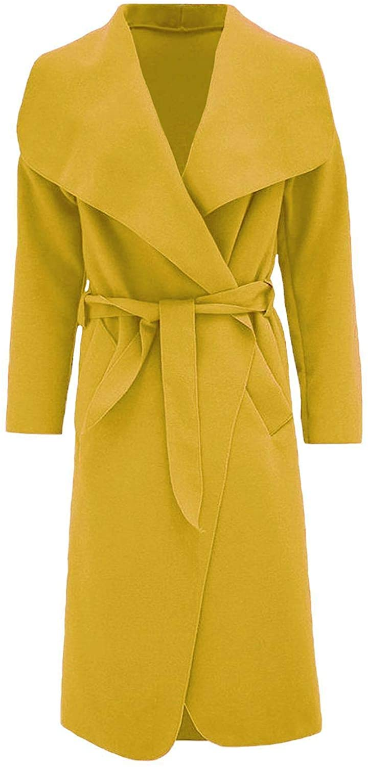 Ladies Italian Trench Long Coat Waterfall Duster Cape Belted Cardigan Jacket Wrap Mustard