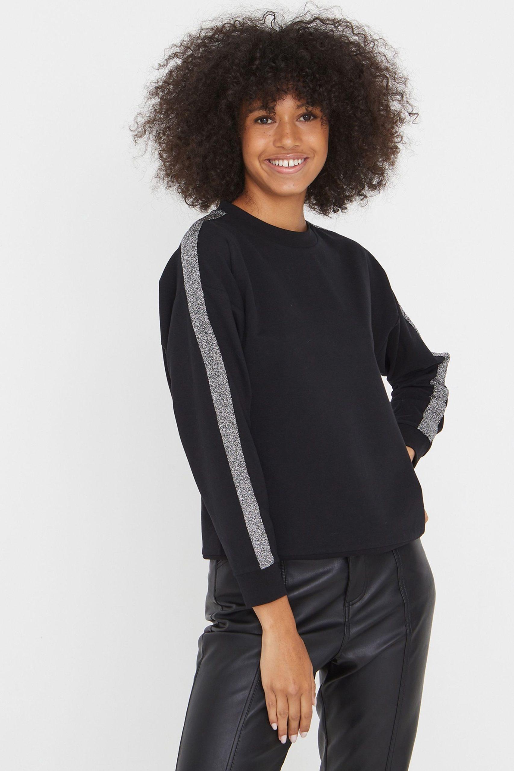 Oliver Bonas Sparkle Tape Black Sweatshirt