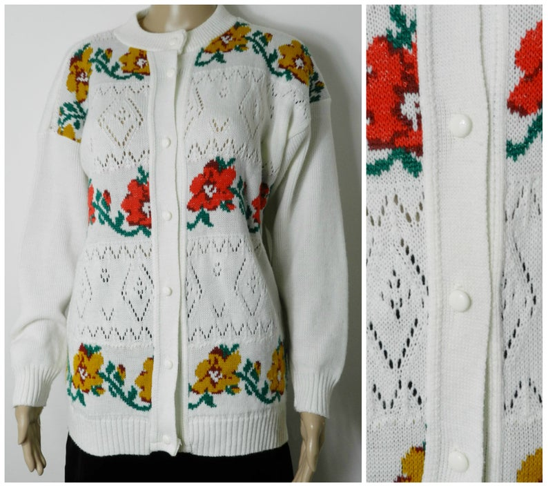 70s 80s white acrylic pointelle bold red + gold metallic floral cardigan