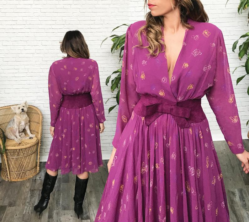 70's Purple Party Dress, Plunging Neckline, Purple Cocktail Dress, Mauve Evening Dress, Midi Length, Chiffon Suede, Jerry Silverman Dress