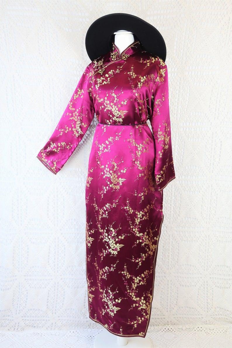 70's Vintage Mandarin Cocktail Dress - Plum & Golden Blossom