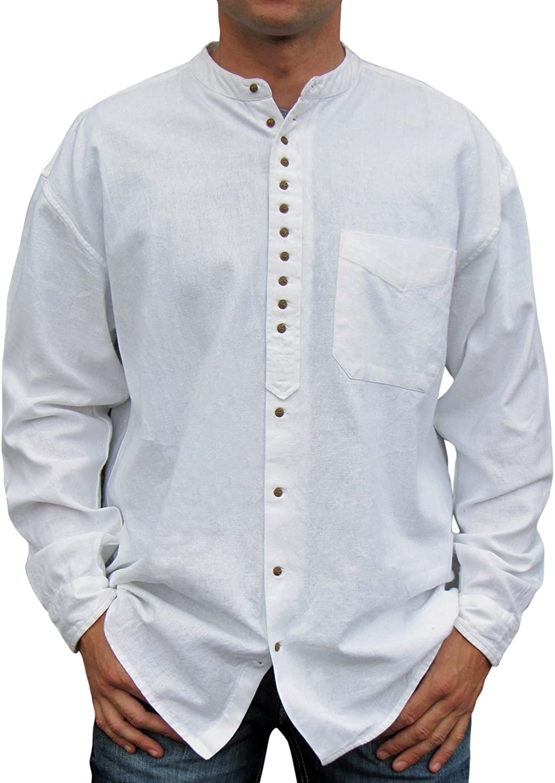 mandarin collar shirt Casual Shirt White White