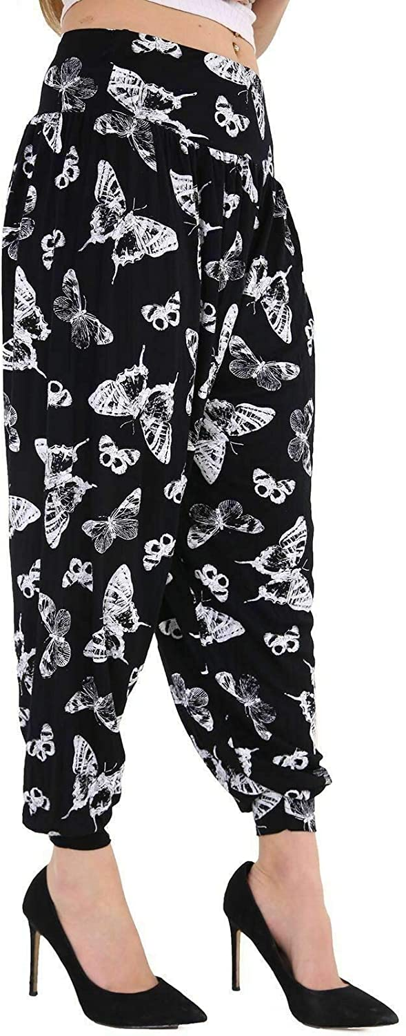 Harem Trousers Womens Full Length Stretch Casual Pants