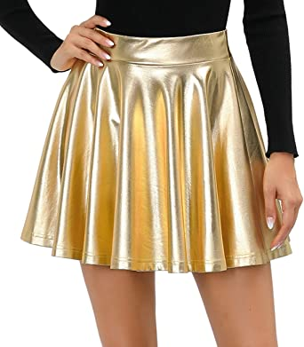 Twotwowin Women's Fashion Shiny A-Line Skirt Stretchy Flared Pleated Mini Metallic Skater Skirt