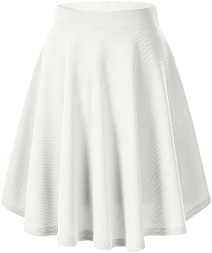 Urban CoCo Women's Basic Solid Versatile Stretchy Flared Casual Mini Skater Skirt