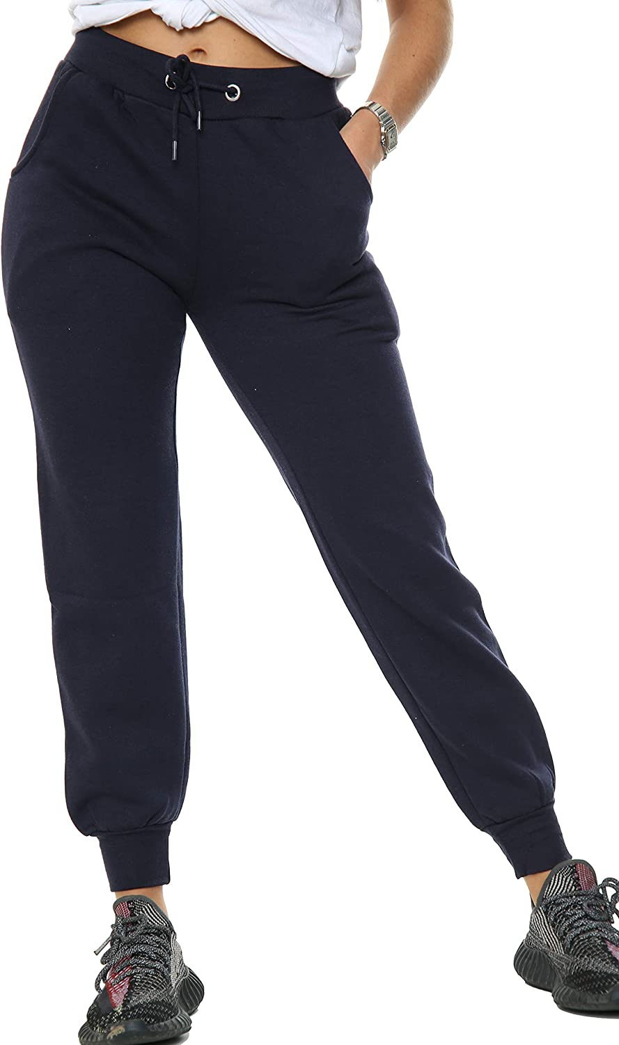 WAQS Joggers for Women Casual Slim Fit Ladies Jogging Bottoms Fleece Tapered Elasticated