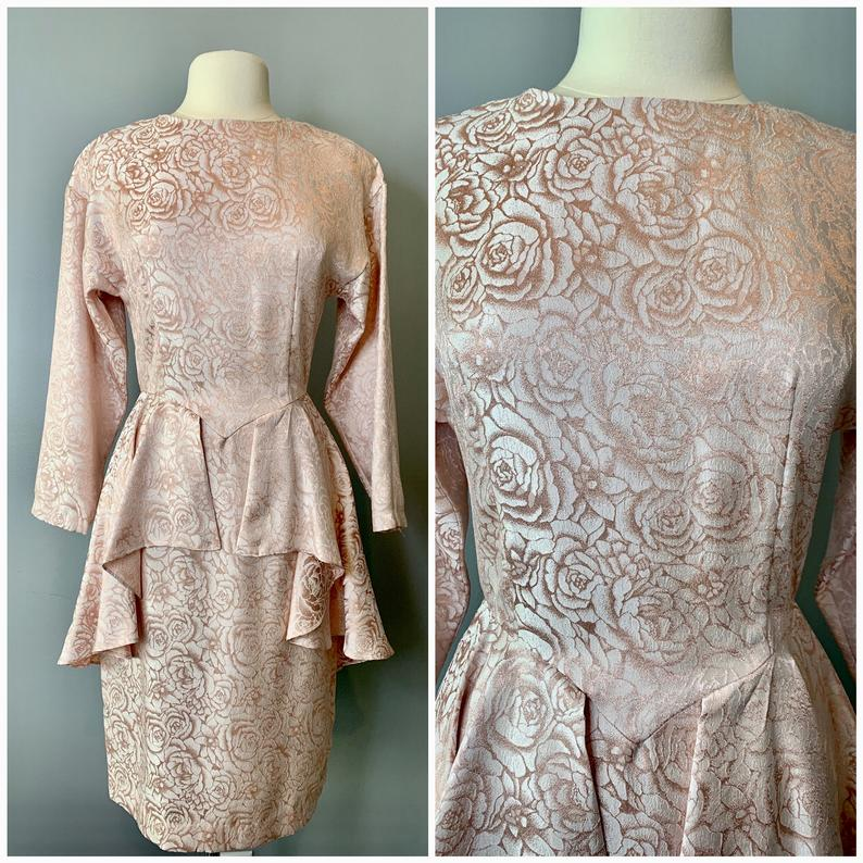 80s peplum pink roses dress-Sz 10-Sm-Med