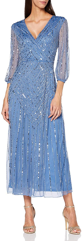 Amelia Rose Women's Grainne Long Sleeve Embellished Midi Dress