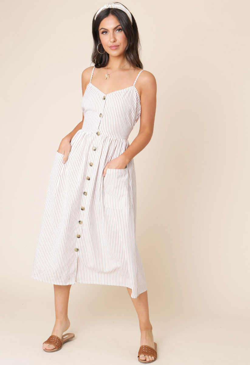 Cotton Stripe Button Down Strappy Midi Dress with Pockets