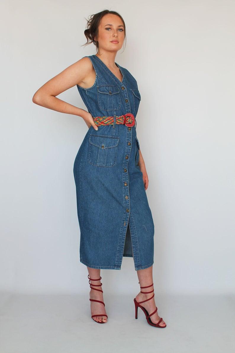 90s Denim Button Up Midi Dress