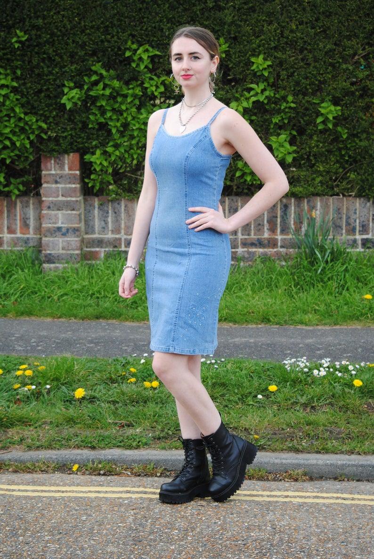90s/Y2K Vintage Denim Jean Knee Length Midi Dress