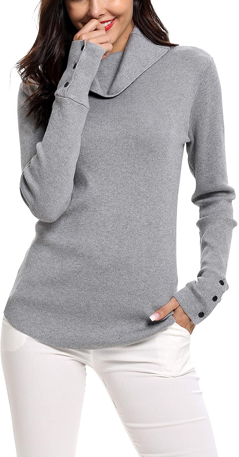 SIRUITON Womens Turtleneck Jumpers Long Sleeve Sweater Knit Pullover Cowl Neck Ribbed Knitwear