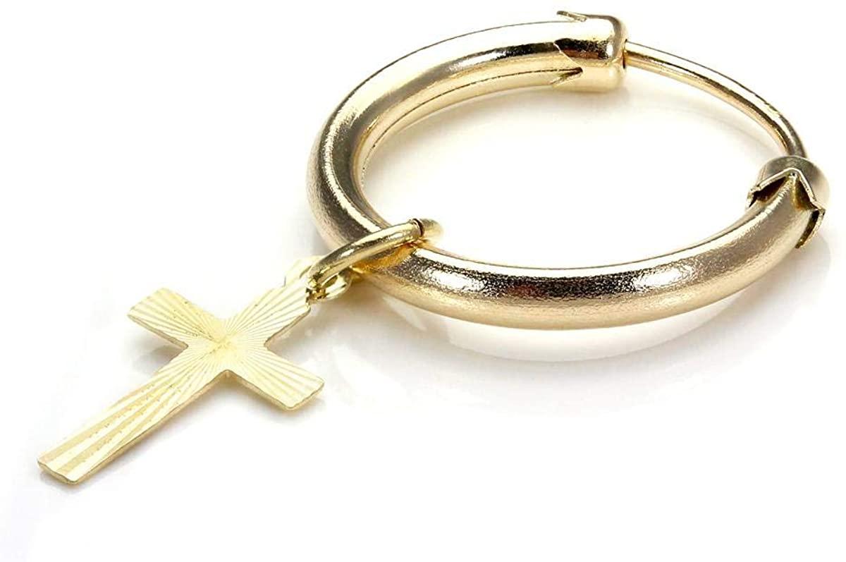 9ct Gold Single Sleeper Hoop Earring with Cross/Men's Earrings