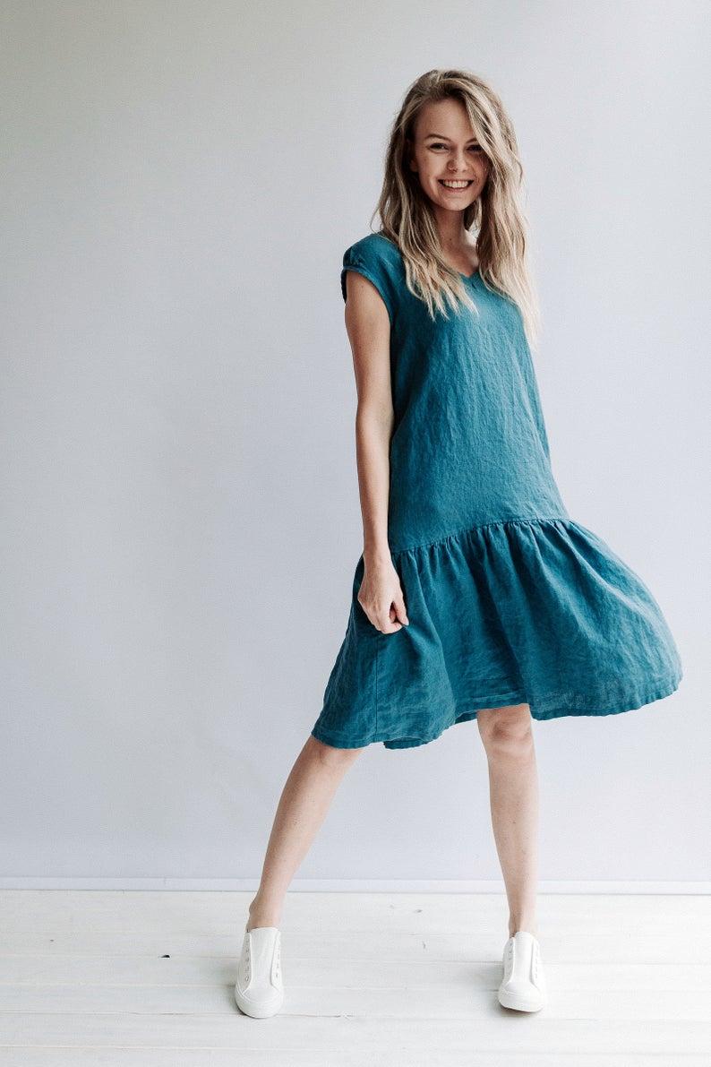 A line Drop Waist Dress 'Julia' from Linen, Drop Waist Linen Dress, Dress Woman, Linen Dresses for Women, A line dress, Short Sleeve Dress