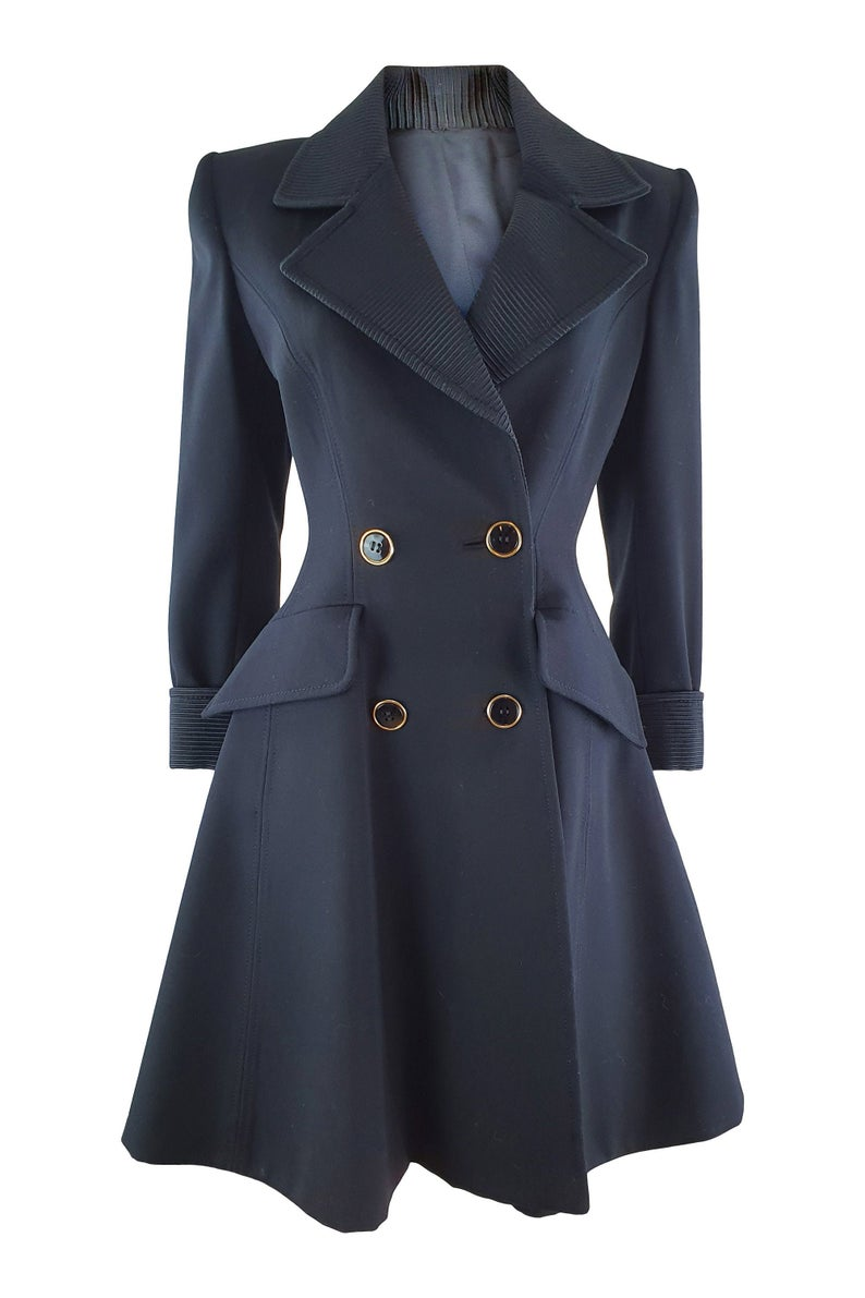 ANDREA ODICINI Vintage 1980s Black Wool Princess Coat (IT 40) - Fit and Flare Coat - Statement Collar - Statement Buttons - Double Breasted