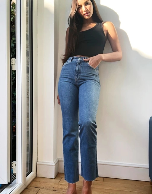 ASOS DESIGN Tall high rise stretch 'effortless' crop kick flare jeans in midwash