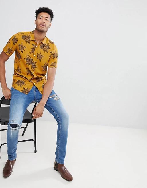 ASOS DESIGN Tall regular fit viscose floral shirt in mustard