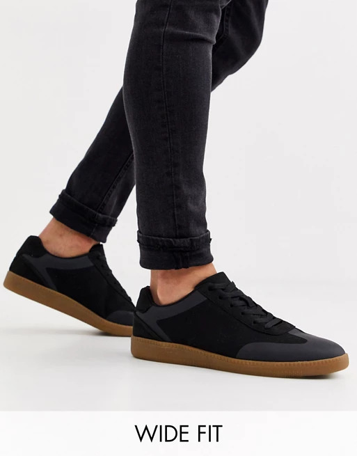 ASOS DESIGN Wide Fit lace up black faux suede with gum sole