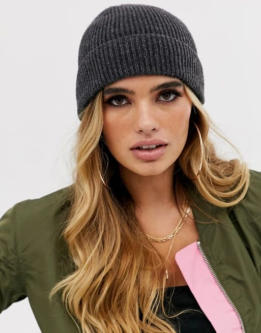 ASOS DESIGN fisherman rib beanie hat in recycled polyester