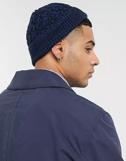 ASOS DESIGN mini fisherman beanie in navy and black twist cable knit