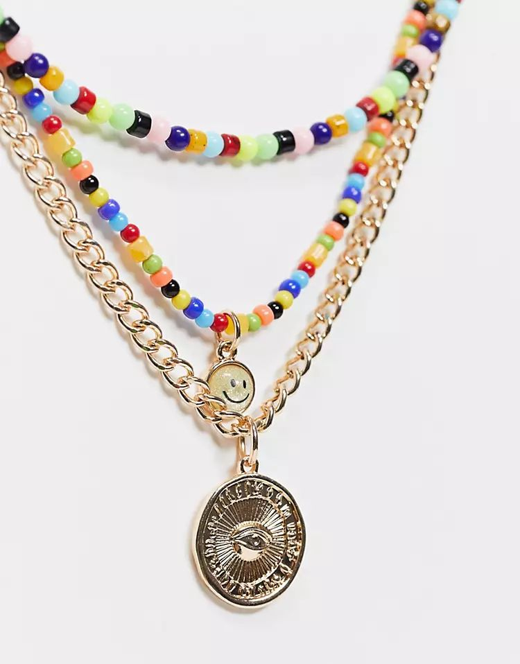 ASOS DESIGN neckchain pack with chain and bead mix in gold tone