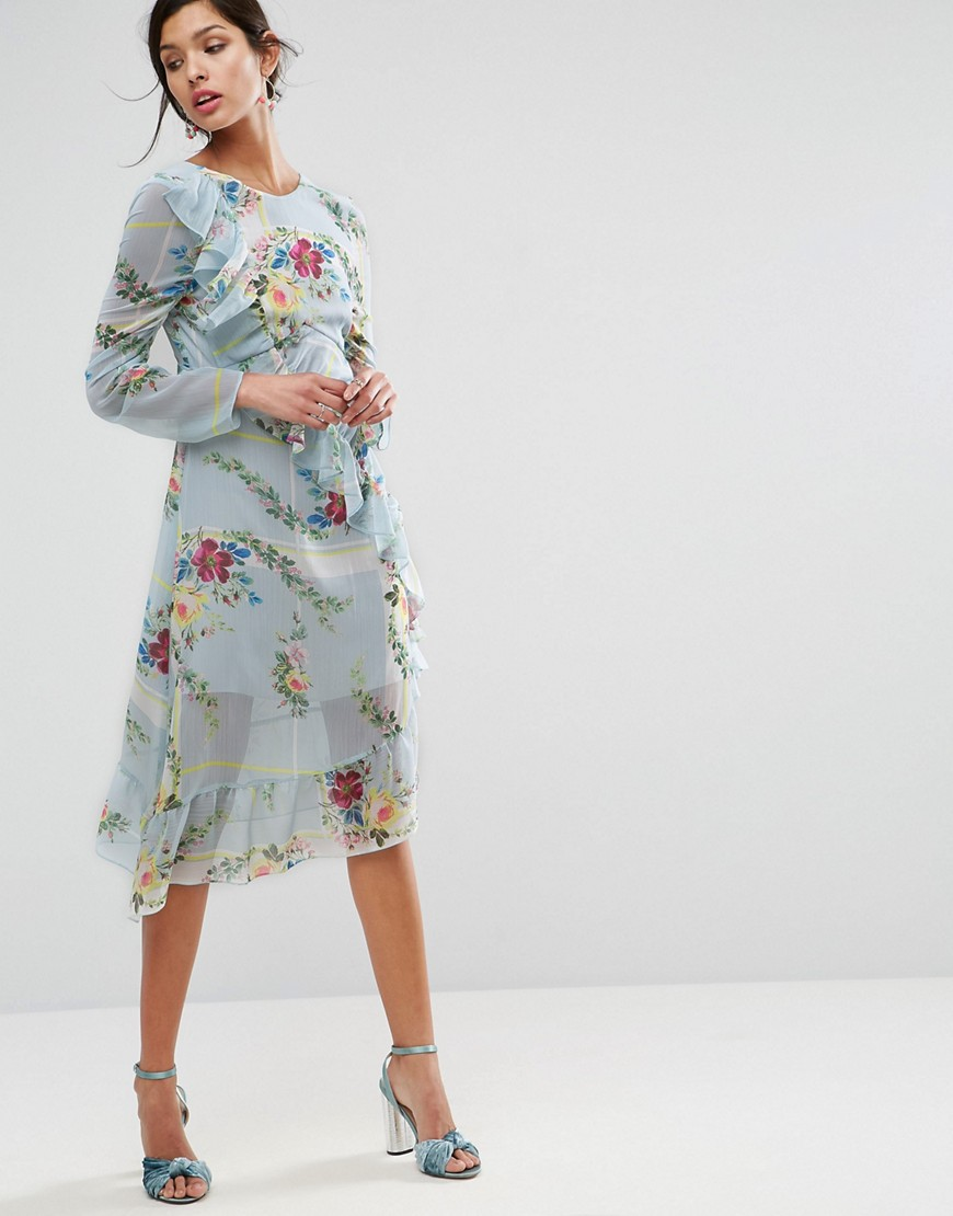ASOS Ruched Midi Tea Dress in Check and Floral Print