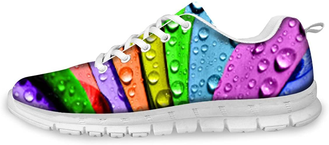 AXGM Men's running shoes, trainers, street running shoes, shoes, colourful rainbow plant dew print, fashion sports shoes, fitness, breathable trainers