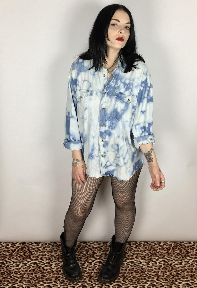Acid wash Reworked Vintage Denim Shirt Up cycled Grunge