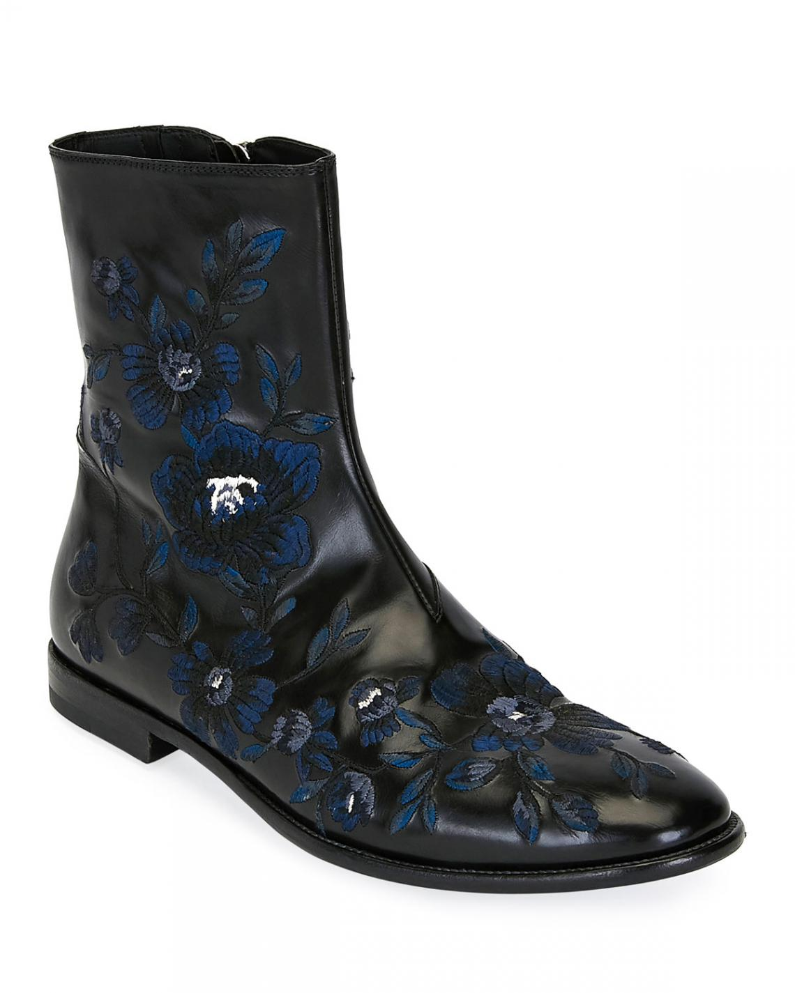 Alexander Boots | Mens Embroidered Leather Half-Boot Black