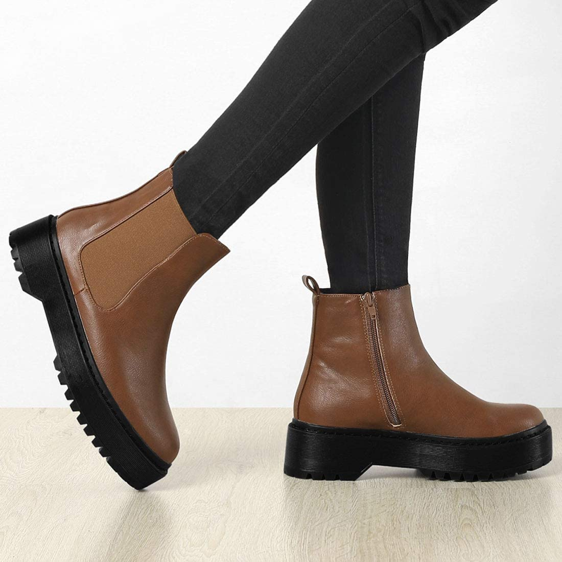 Allegra K Women's Chelsea Platform Ankle Boots