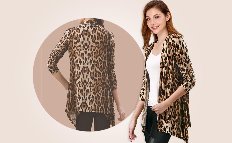 Allegra K Women's Long Sleeve Knitted Open Front Leopard Print Cardigan