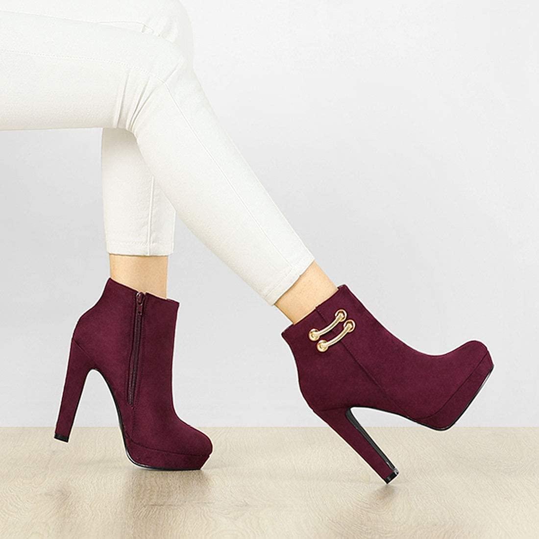 Allegra K Women's Round Toe Chunky High Heel Platform Ankle Boots